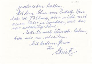 Autographs: GRAND ADMIRAL KARL DONITZ - AUTOGRAPH LETTER SIGNED 03/20/1979