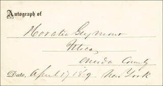 GOVERNOR HORATIO SEYMOUR - AUTOGRAPH 04/17/1869