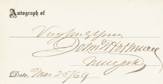 GOVERNOR JOHN THOMPSON HOFFMAN - AUTOGRAPH SENTIMENT SIGNED 03/25/1869