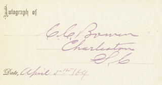 Autographs: CHRISTOPHER C. BOWEN - PRINTED CARD SIGNED IN INK 04/05/1869