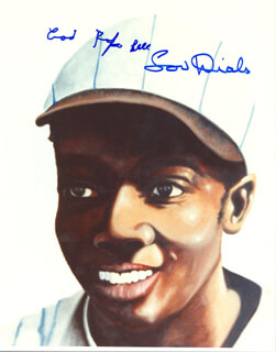 Autographs: JAMES COOL PAPA BELL - ILLUSTRATION SIGNED CO-SIGNED BY: LOU DIALS