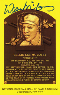 WILLIE STRETCH McCOVEY - BASEBALL HALL OF FAME PLAQUE POSTCARD SIGNED