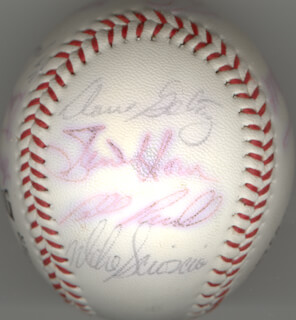 THE LOS ANGELES DODGERS - AUTOGRAPHED SIGNED BASEBALL CO-SIGNED BY: BILL RUSSELL, DUSTY BAKER, DERREL O. THOMAS, MIKE SCIOSCIA, STEVE HOWE, BOB WELCH, REGGIE SMITH, TOM NIEDENFUER, JERRY ROLLS REUSS, DAVE SMOKE STEWART, KEN LANDREAUX, JAY JOHNSTONE, TOM LASORDA, STEVE GARVEY, DAVE GOLTZ