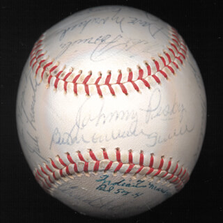 BOSTON RED SOX - AUTOGRAPHED SIGNED BASEBALL 03/24/1963 CO-SIGNED BY: DICK WILLIAMS, BILLY GARDNER, RUSS NIXON, EDDIE BRESSOUD, LOU CLINTON, HAL KOLSTAD, MERLIN NIPPERT, JACK LAMABE, ARNIE EARLEY, DICK RADATZ, HARRY DORISH, HARRY SWEDE MALMBERG, DAVE MOE MOREHEAD, JIM GOSGER, MIKE FORNIELES, FRANK MALZONE, JOHNNY PESKY, TED WILLIAMS, BILL MONBOUQUETTE, JERRY STEPHENSON, BOB TILLMAN, WILBUR WOOD, CHUCK SCHILLING