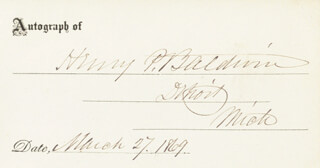 Autographs: HENRY P. BALDWIN - PRINTED CARD SIGNED IN INK 03/27/1869