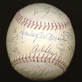THE DETROIT TIGERS - AUTOGRAPHED SIGNED BASEBALL CO-SIGNED BY: LOU SWEET LOU WHITAKER, JOHN (JOHNNY BILTON) WOCKENFUSS, FRANK L. WILLIAMS, ALAN TRAMMELL, GARY PETTIS, TED POWER, KEVIN RITZ, SCOTT LUSADER, PAT AUSTIN, MILT CUYLER JR., PHILIP J. CLARK, VADA PINSON, RANDY NOSEK, AL PEDRIQUE, DOUG HENRY, KEN JOHNSON, BILLY MUFFETT, AL MR. TIGER KALINE, SPARKY ANDERSON, BILLY BEAN
