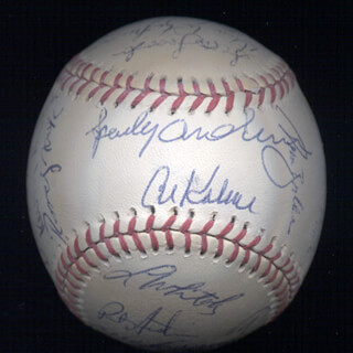 THE DETROIT TIGERS - AUTOGRAPHED SIGNED BASEBALL CO-SIGNED BY: CHRIS TIN MAN BROWN, LOU SWEET LOU WHITAKER, DICK TRACEWSKI, KEVIN RITZ, SCOTT LUSADER, SHAWN HOLMAN, PAT AUSTIN, PHILIP J. CLARK, RANDY NOSEK, DOUG STRANGE, AL PEDRIQUE, DOUG HENRY, BILLY MUFFETT, FRANK TANANA, AL MR. TIGER KALINE, SPARKY ANDERSON, BILLY BEAN