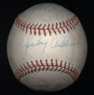 Autographs: CINCINNATI REDS - BASEBALL SIGNED CO-SIGNED BY: BOB BAILEY, JOHNNY BENCH, KEN GRIFFEY SR., GEORGE FOSTER, DAVE CONCEPCION, ED ARMBRISTER, CESAR GERONIMO, JOE LITTLE JOE MORGAN, JIM BAUMER, DAN DRIESSEN, PETE ROSE, SPARKY ANDERSON