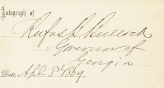 Autographs: GOVERNOR RUFUS B. BULLOCK - PRINTED CARD SIGNED IN INK 04/08/1869