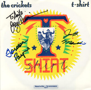 THE CRICKETS - INSCRIBED RECORD ALBUM SLEEVE SIGNED CO-SIGNED BY: THE CRICKETS (GORDON PAYNE), THE CRICKETS (JERRY ALLISON), THE CRICKETS (JOE B. MAULDIN)