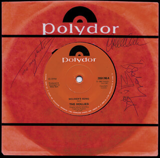 THE HOLLIES - RECORD ALBUM SLEEVE SIGNED CO-SIGNED BY: THE HOLLIES (ALLAN CLARKE), THE HOLLIES (TONY ANTHONY HICKS), THE HOLLIES (BOBBY ELLIOTT)