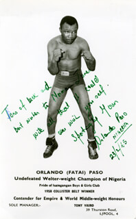 ORLANDO FATAI PASO - AUTOGRAPH LETTER ON PHOTOGRAPH SIGNED TWICE 02/23/1965