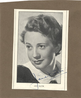 JANE BAXTER - MAGAZINE PHOTOGRAPH SIGNED CO-SIGNED BY: ESMOND KNIGHT
