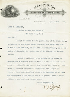 MAJOR GENERAL RICHARD J. OGLESBY - TYPED LETTER SIGNED 01/28/1888