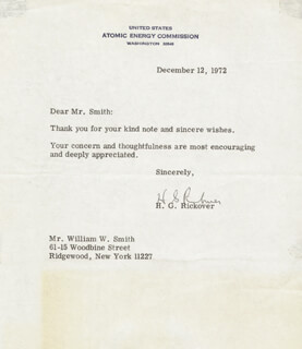 ADMIRAL HYMAN G. RICKOVER - TYPED LETTER SIGNED 12/12/1972