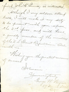 GEORGE W WAGNER - AUTOGRAPH LETTER SIGNED 02/12/1898