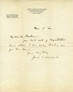 JOSIAH T. NEWCOMB - AUTOGRAPH LETTER SIGNED 12/05/1908