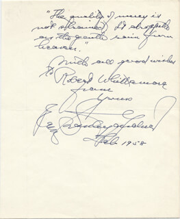 ERLE STANLEY GARDNER - AUTOGRAPH QUOTATION SIGNED 2/1958