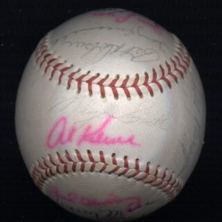 Autographs: THE DETROIT TIGERS - BASEBALL SIGNED CO-SIGNED BY: TONY CHICK CUCCINELLO, FRED GLADDING, DENNY McLAIN, MICKEY STANLEY, NORM CASH, MAYO SMITH, RAY OYLER, BILL FREEHAN, DAVE WICK WICKERSHAM, DICK McAULIFFE, JOE SPARMA, JIM NORTHRUP, JOHNNY SAIN, DICK TRACEWSKI, WALLY MOSES, JIM PRICE, EARL MOOSE WILSON, DICK RADATZ, MIKE G. MARSHALL, HAL NARAGON, HANK AGUIRRE, PAT DOBSON, MICKEY LOLICH, JERRY LUMPE, AL MR. TIGER KALINE, LEN GREEN, JOHN HILLER