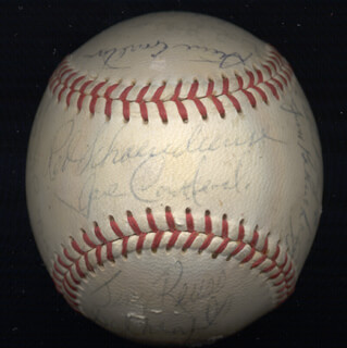 Autographs: THE ST. LOUIS CARDINALS - BASEBALL SIGNED CO-SIGNED BY: JOE TORRE, STEVE CARLTON, EDWARD CARLTON CROSBY, BOB GIBSON, VIC DAVALILLO, PHIL GAGLIANO, JERRY ROLLS REUSS, MIKE TORREZ, MIKE MOONMAN SHANNON, DICK RICHIE ALLEN, VERN BENSON, SAL CAMPISI, BOB CHLUPSA, GEORGE CULVER, JOE HAGUE, JULIAN HOOLIE-THE PHANTOM JAVIER, LERON LEE, CARL TAYLOR, BART ZELLER, JERRY JOHNSON, LOU BROCK, CHUCK TAYLOR, JOSE CARDENAL, FRANK LINZY, RED SCHOENDIENST, NELSON NELLIE BRILES, DAL MAXVILL