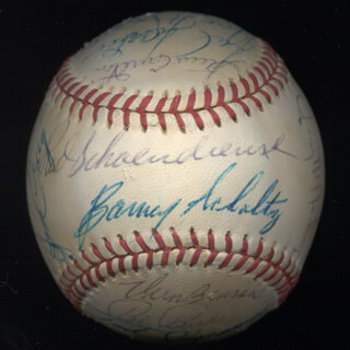 THE ST. LOUIS CARDINALS - BASEBALL (GAME USED) SIGNED CIRCA 1971 CO-SIGNED BY: JIM BEAUCHAMP, JERRY McNERTNEY, DON SHAW, JOE TORRE, STEVE CARLTON, GEORGE KISSELL, BOB GIBSON, JERRY ROLLS REUSS, VERN BENSON, JOE HAGUE, JULIAN HOOLIE-THE PHANTOM JAVIER, CHRIS ZACHARY, BOB BULLET BOB REYNOLDS, BARNEY SCHULTZ, LOU BROCK, MOE DRABOWSKY, CHUCK TAYLOR, REGGIE CLEVELAND, BOB BURDA, JOSE CRUZ, TED SIZEMORE, FRANK LINZY, RED SCHOENDIENST