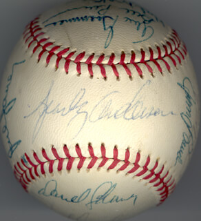 Autographs: CINCINNATI REDS - BASEBALL SIGNED CIRCA 1972 CO-SIGNED BY: JOHNNY BENCH, DENIS MENKE, GEORGE FOSTER, DAVE CONCEPCION, HAL McRAE, BILL (WILLIAM FRANCIS) PLUMMER, CESAR GERONIMO, JIM RED McGLOTHLIN, JOE HAGUE, JULIAN HOOLIE-THE PHANTOM JAVIER, PEDRO BORBON SR., TED (THEODORE OTTO) UHLAENDER, ALEX GRAMMAS, DARREL CHANEY, MIKE SADEK, ROSS GRIMSLEY, TONY PEREZ, BOB (BOBBY) TOLAN, SPARKY ANDERSON
