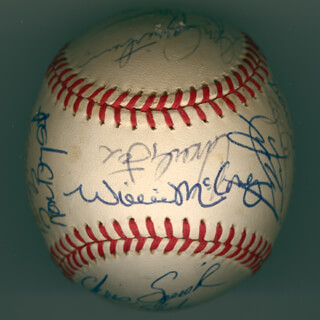 THE SAN FRANCISCO GIANTS - AUTOGRAPHED SIGNED BASEBALL CIRCA 1971 CO-SIGNED BY: FRAN HEALY, JUAN MARICHAL, BOBBY BONDS, WILLIE STRETCH McCOVEY, TITO FUENTES, TOM BRADLEY, AL DIRTY AL GALLAGHER, RON BEAR BRYANT, CHARLIE IRISH FOX, BERNIE WILLIAMS, RICH ROBERTSON, DON McMAHON, JIM BARR, KEN HENDERSON, RANDY MOFFITT, MIKE SADEK, DAVE KINGMAN, STEVE STONE, CHRIS SPEIER, DAVE RADER