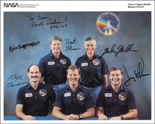 SPACE SHUTTLE ATLANTIS - STS - 27 CREW - AUTOGRAPHED SIGNED PHOTOGRAPH CO-SIGNED BY: CAPTAIN ROBERT L. HOOT GIBSON, COLONEL JERRY L. ROSS, COLONEL RICHARD MIKE MULLANE, COLONEL GUY S. GARDNER, CAPTAIN WILLIAM SHEPHERD