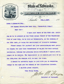 MAJOR GENERAL JOHN M. THAYER - TYPED LETTER SIGNED 02/01/1887
