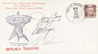 COLONEL GERALD P. JERRY CARR - ANNOTATED COMMEMORATIVE ENVELOPE SIGNED CO-SIGNED BY: EDWARD G. GIBSON, COLONEL WILLIAM R. BILL POGUE
