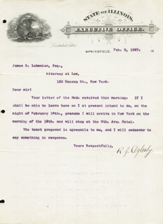MAJOR GENERAL RICHARD J. OGLESBY - TYPED LETTER SIGNED 02/05/1887