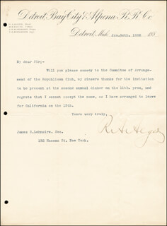 Autographs: RUSSELL A. ALGER - TYPED LETTER SIGNED 01/30/1888