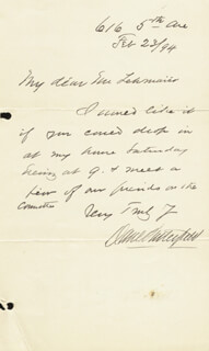 MAJOR GENERAL DANIEL BUTTERFIELD - AUTOGRAPH LETTER SIGNED 02/23/1894