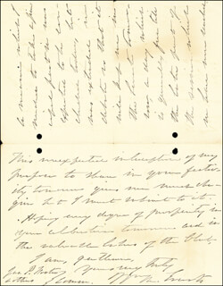 Autographs: WILLIAM M. EVARTS - AUTOGRAPH LETTER SIGNED 02/11/1887