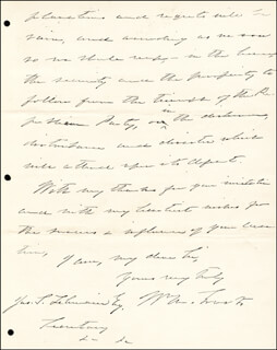 Autographs: WILLIAM M. EVARTS - AUTOGRAPH LETTER SIGNED 07/04/1888