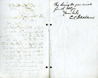 MAJOR GENERAL CADWALLADER C. WASHBURN - AUTOGRAPH LETTER SIGNED 08/09/1877