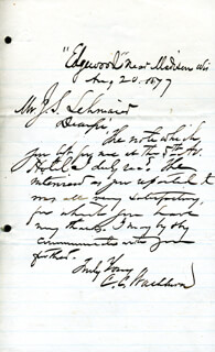 MAJOR GENERAL CADWALLADER C. WASHBURN - AUTOGRAPH LETTER SIGNED 08/20/1877