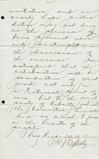 MAJOR GENERAL RICHARD J. OGLESBY - AUTOGRAPH LETTER SIGNED 01/25/1887
