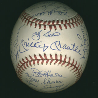 Autographs: THE 1961 NEW YORK YANKEES - BASEBALL SIGNED CO-SIGNED BY: YOGI BERRA, BUD DALEY, ART DITMAR, JOE DE MAESTRI, BILLY GARDNER, JIM COATES, BILL MOOSE SKOWRON, CLETE BOYER, HECTOR LOPEZ, JOHNNY BLANCHARD, RYNE DUREN, JOHNNY SAIN, AL LITTLE AL DOWNING, BILL STAFFORD, JESSE GONDER, BOBBY RICHARDSON, DANNY McDEVITT, JOHNNY JAMES, JACK REED, LUIS YO-YO ARROYO, ROLLIE SHELDON, BOB CERV, EARL TORGESON, TEX CLEVENGER, WHITEY FORD, BOB HALE, RALPH HOUK, TOM TRESH, MICKEY MANTLE, RALPH TERRY, BOB TURLEY, DERON JOHNSON, HAL RENIFF
