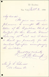 Autographs: GOVERNOR ALONZO CORNELL - AUTOGRAPH LETTER SIGNED 02/03/1888