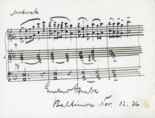GUSTAVE STRUBE - AUTOGRAPH MUSICAL QUOTATION SIGNED 11/12/1926