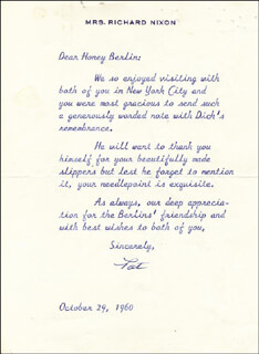 FIRST LADY PATRICIA R. NIXON - TYPED LETTER SIGNED 10/29/1960