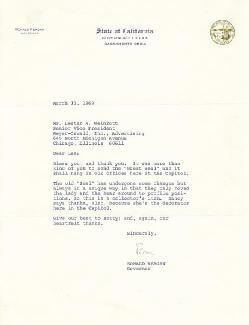 PRESIDENT RONALD REAGAN - TYPED LETTER SIGNED 03/13/1969