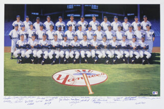 THE 1961 NEW YORK YANKEES - PRINTED ART SIGNED IN INK CIRCA 1990 CO-SIGNED BY: YOGI BERRA, BUD DALEY, ART DITMAR, JOE DE MAESTRI, BILLY GARDNER, JIM COATES, BILL MOOSE SKOWRON, CLETE BOYER, HECTOR LOPEZ, JOHNNY BLANCHARD, RYNE DUREN, JOHNNY SAIN, RON LEWIS, AL LITTLE AL DOWNING, BILL STAFFORD, JESSE GONDER, BOBBY RICHARDSON, DANNY McDEVITT, JOHNNY JAMES, JACK REED, LUIS YO-YO ARROYO, ROLLIE SHELDON, BOB CERV, EARL TORGESON, TEX CLEVENGER, WHITEY FORD, BOB HALE, RALPH HOUK, TOM TRESH, MICKEY MANTLE, RALPH TERRY, BOB TURLEY, DERON JOHNSON, HAL RENIFF