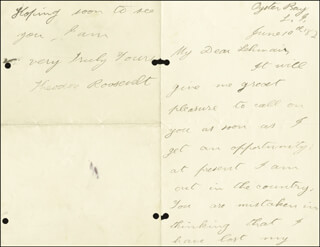 Autographs: PRESIDENT THEODORE ROOSEVELT - AUTOGRAPH LETTER SIGNED 06/10/1882