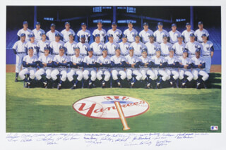 THE 1961 NEW YORK YANKEES - PRINTED ART SIGNED IN INK CIRCA 1990 CO-SIGNED BY: YOGI BERRA, BUD DALEY, JOE DE MAESTRI, BILLY GARDNER, JIM COATES, BILL MOOSE SKOWRON, CLETE BOYER, HECTOR LOPEZ, JOHNNY BLANCHARD, RYNE DUREN, JOHNNY SAIN, RON LEWIS, AL LITTLE AL DOWNING, BILL STAFFORD, JESSE GONDER, BOBBY RICHARDSON, DANNY McDEVITT, JOHNNY JAMES, JACK REED, LUIS YO-YO ARROYO, ROLLIE SHELDON, BOB CERV, EARL TORGESON, TEX CLEVENGER, WHITEY FORD, BOB HALE, RALPH HOUK, TOM TRESH, MICKEY MANTLE, RALPH TERRY, BOB TURLEY, DERON JOHNSON, HAL RENIFF