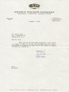 ARNOLD PALMER - TYPED LETTER SIGNED 11/01/1962