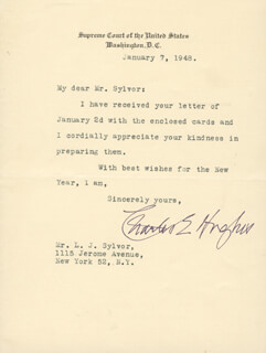 CHIEF JUSTICE CHARLES E HUGHES - TYPED LETTER SIGNED 01/07/1948