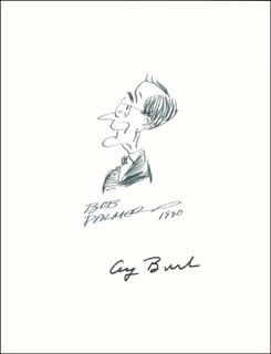 PRESIDENT GEORGE H.W. BUSH - CARICATURE SIGNED 1990 CO-SIGNED BY: BOB PALMER