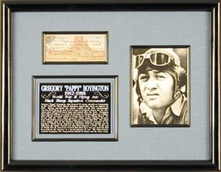 COLONEL GREG PAPPY BOYINGTON - AUTOGRAPHED SIGNED CHECK 01/14/1980